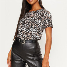 Sexy Ladies Blouse Short Sleeve Shirts Women O Neck Leopard Print Tee Top Streetwear Party Femme Casual OL Tops Blusas