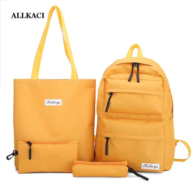 Canvas Women Backpack 4pcs/Set Girls Student School Backpack Teenagers Book Bag Black Yellow Girls School Bag Mochila Feminina48