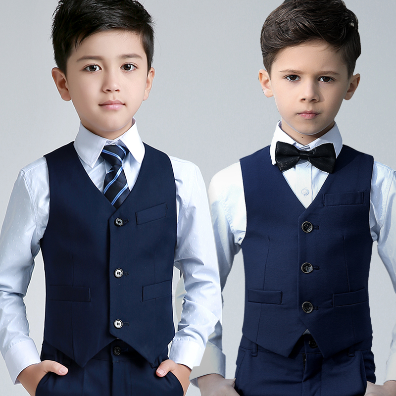 2018 spring style boy wedding vest suit vest+shirt+tie+pants kids formal suit party baptism christmas prom clothes for holiday kids boy clothes formal gentelman wedding clothing set fashion long sleeve turn down collar shirt male suit blazer pants best