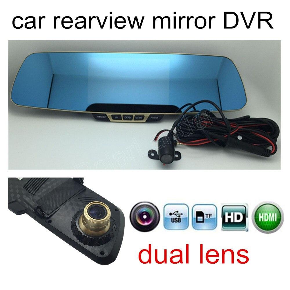 DVR 1080P Rear Camera Car-Recorder Rear-View-Mirror Reversing-Image Dual-Lens HD 5inch