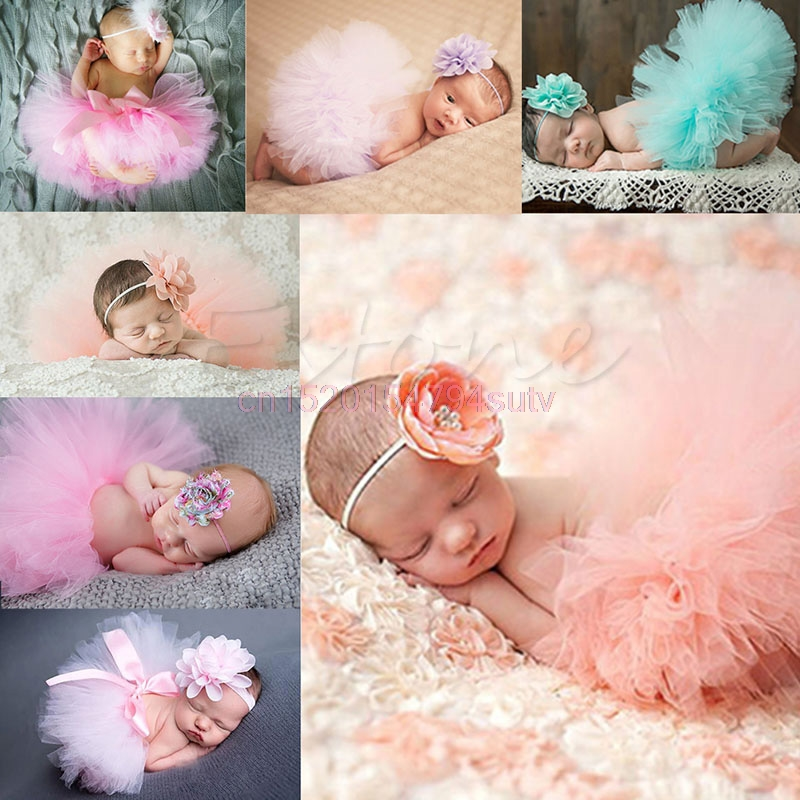 Baby-Tutu-Clothes-Skirt-Newborn-Headdress-Flower-Girls-Photo-Prop-Outfits-h055-4