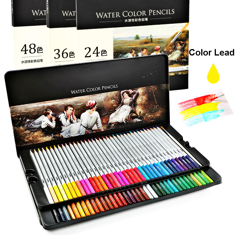 Deli 24/36/48 Colorful Colors/Box Water Color Pencil Pens Kid Art Stationery Set For School Kids Drawing Graffiti Painting