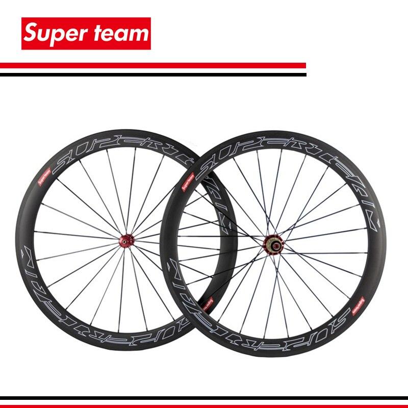 1Sets Super light 700c carbon clincher wheels 50mm 700c wheelset with SuperTeam decal1Sets Super light 700c carbon clincher wheels 50mm 700c wheelset with SuperTeam decal