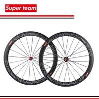1Sets Super light 700c carbon clincher wheels 50mm 700c wheelset with SuperTeam decal