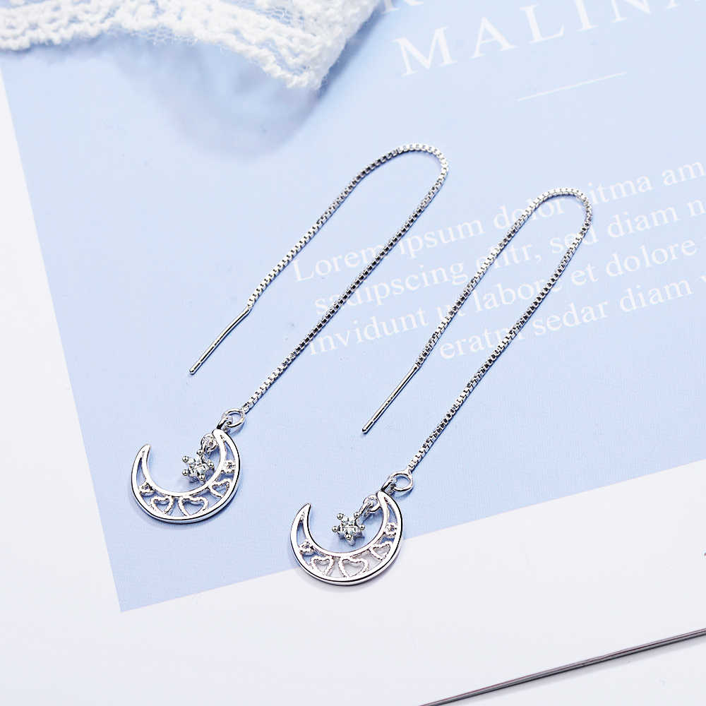 Trending 2019 925 Silver Moon Star Chain Earrings For Women Ladies Box Chain Long Ear Line Earring Jewelry Brincos