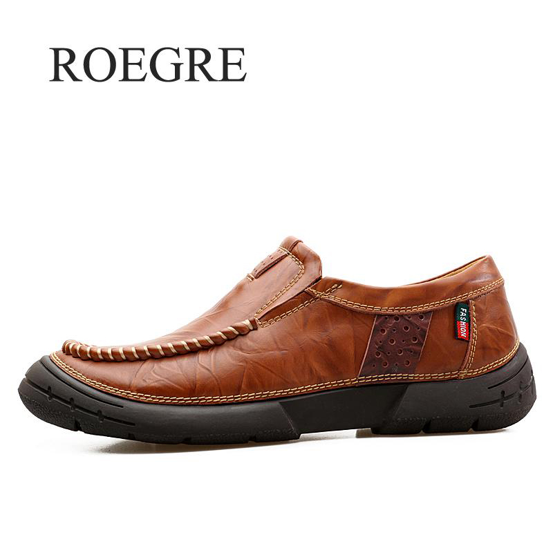 ROEGRE 2018 New Genuine Leather Men Casual Shoes Luxury Designer Men Shoes Famous Brand Male Shoes Italian Mens Moccasins Flats cbjsho brand men shoes 2017 new genuine leather moccasins comfortable men loafers luxury men s flats men casual shoes