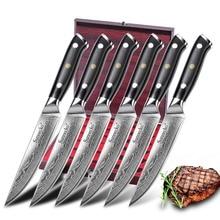 SUNNECKO 5 coltello da bistecca damasco giapponese VG10 acciaio 6 pezzi coltelli da cucina Set G10 manico coltello di alta qualità confezione regalo