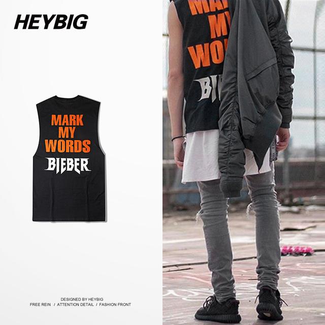 Músico americano estilo Chaleco Singlets Tank tops Sin Mangas de ropa Hip hop HEYBIG crewneck de gira