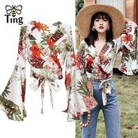 Tingfly Women Floral Tie Up Ruffles Flare Sleeve Crop Top Blouse New Flower Print Summer Boho Chiffon Blouse Tops Beach Shirts