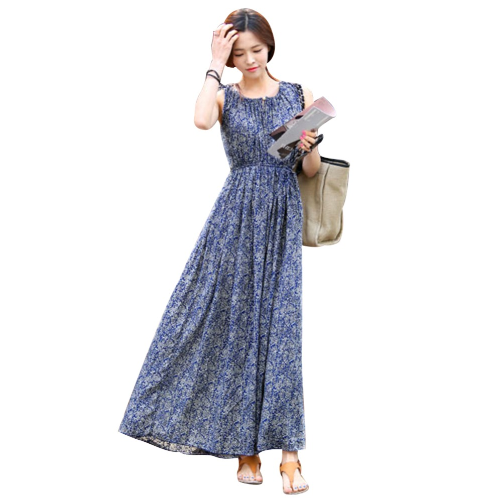 2016 Fashion New Style Vintage Floral Women Summer Long