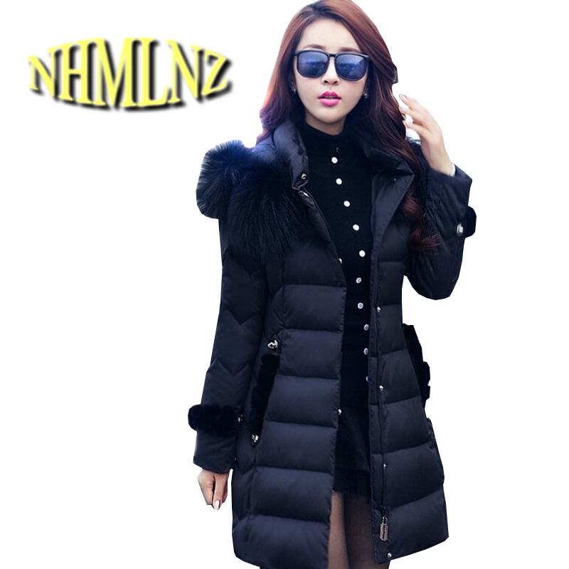 Latest Winter Fashion Women Cotton Coat Elegant Fur collar Hooded Slim Big yards Down jacket Thick Cotton Super Warm Coat G1977 europe winter big yards women coat warm duck down down jacket elegant pure color casual thick hooded slim women short coat g0451