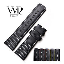 цена на Rolamy 28mm Watch Band Genuine Leather With Black White Orange Red Yellow Stitches Wrist Watchbands Strap Loops For Seven Friday