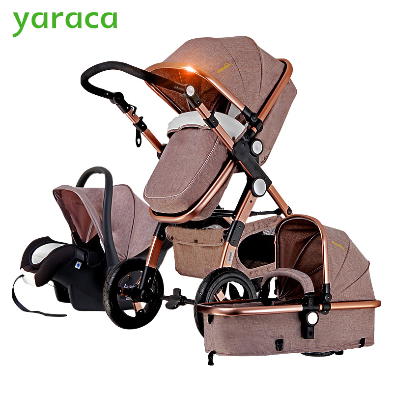 yaraca коляска - Luxury Baby Stroller 3 in 1 With Car Seat High Lands Pram For Newborns Foldable Travel System Baby Carriage Trolley Walking