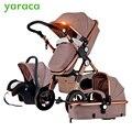 Luxus Baby Kinderwagen 3 in 1 Mit Auto Sitz Hohe Landet Kinderwagen Für Neugeborene Faltbare Travel System Kinderwagen Trolley walking