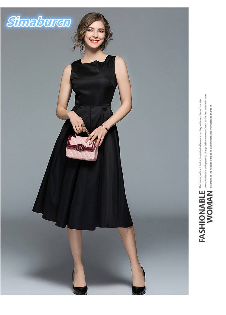European 2018 Women Party Black Dress Ladies Ol Style Dresses New