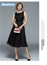 European 2018 Women Party Black Dress Ladies OL Style Dresses New Spring Summer Square Neck Sleeveless Female A Line