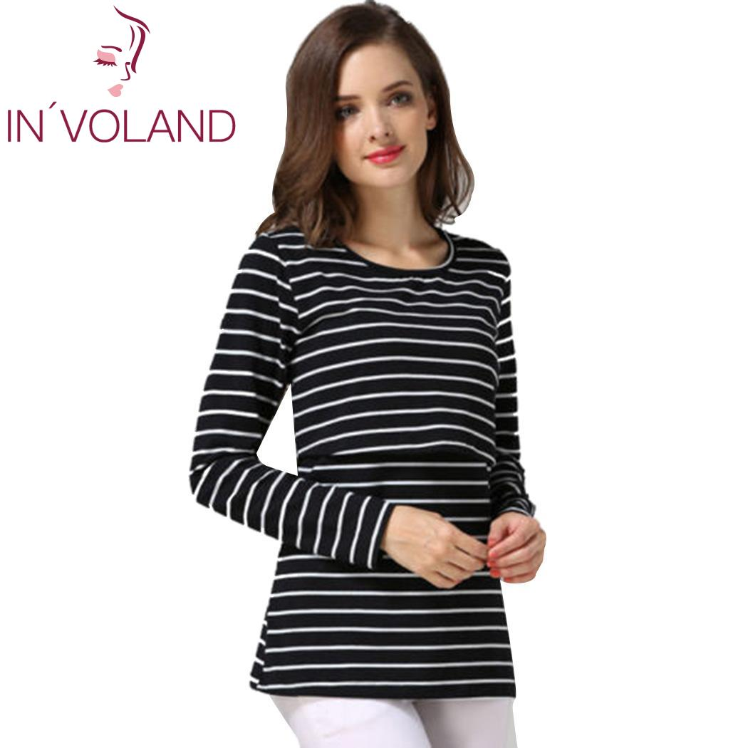 Loose Fashion Women Casual O-Neck Long Sleeve Striped Breast Feeding New Blouse T-shirt Tops