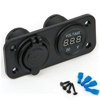 12V LED Duel Car 2 USB Port Charger With DC Voltmeter Digital Auto Motorbike Boat Cigarette