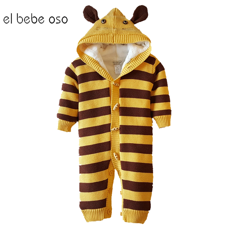 el bebe oso Winter Baby Rompers Newborn Boys Girl Clothes Jumpsuit Thick Warm Fleece Hooded Cotton Unisex Children Clothing XL36 2017 summer baby rompers tuxedo shortall jumpsuit bebe clothing two piece set vest bowtie baby braces rompers kid clothes