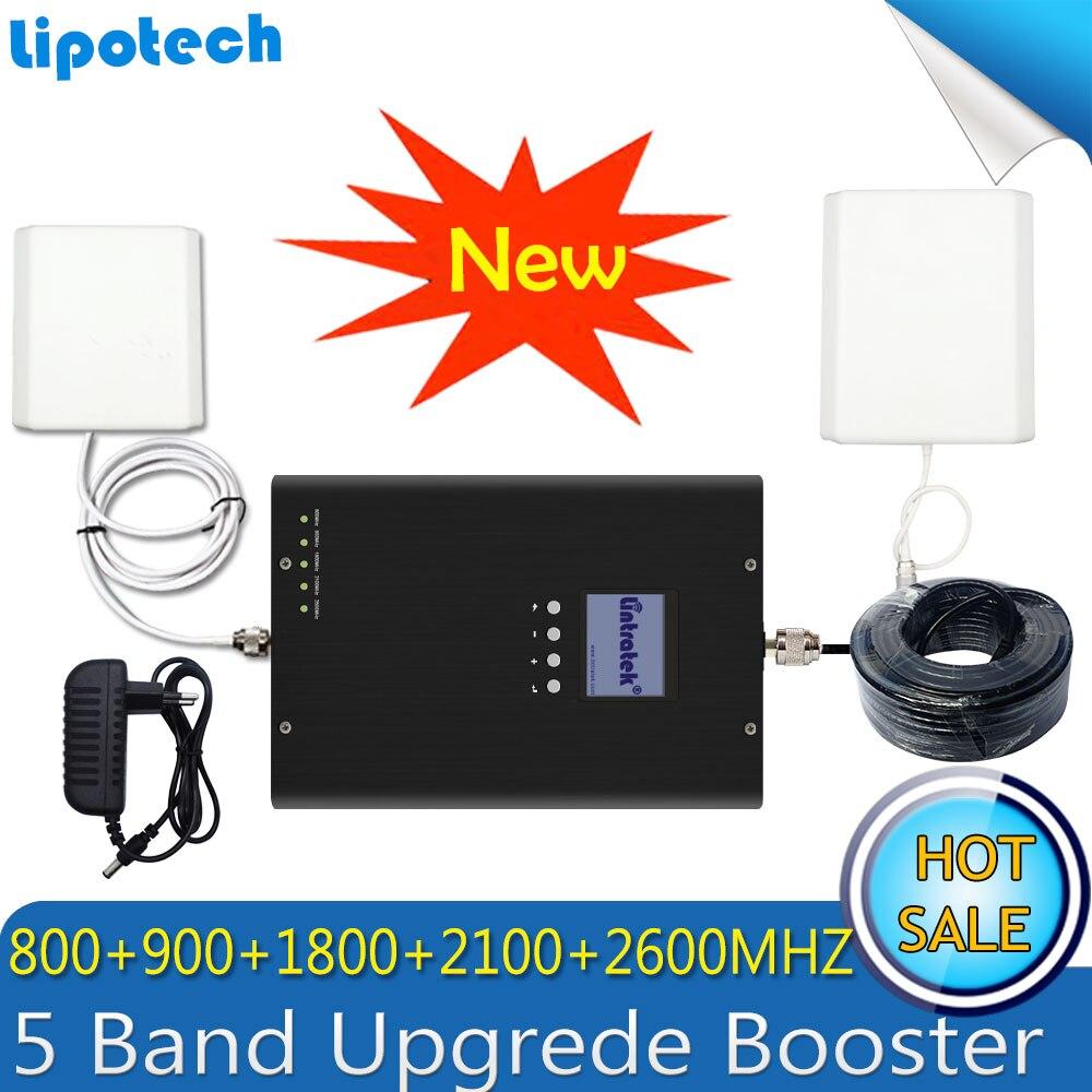 Lintratek LTE 800/2600/1800 MHZ WCDMA 2100 GSM 900 5 bandes Booster 2G 3G 4G LTE Signal Mobile 4G antenne cellulaire répéteur GSM