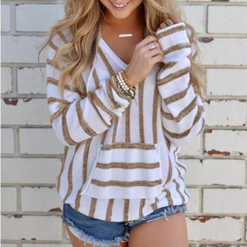 V-neck Long Sleeve Hoodie Sweatshirt