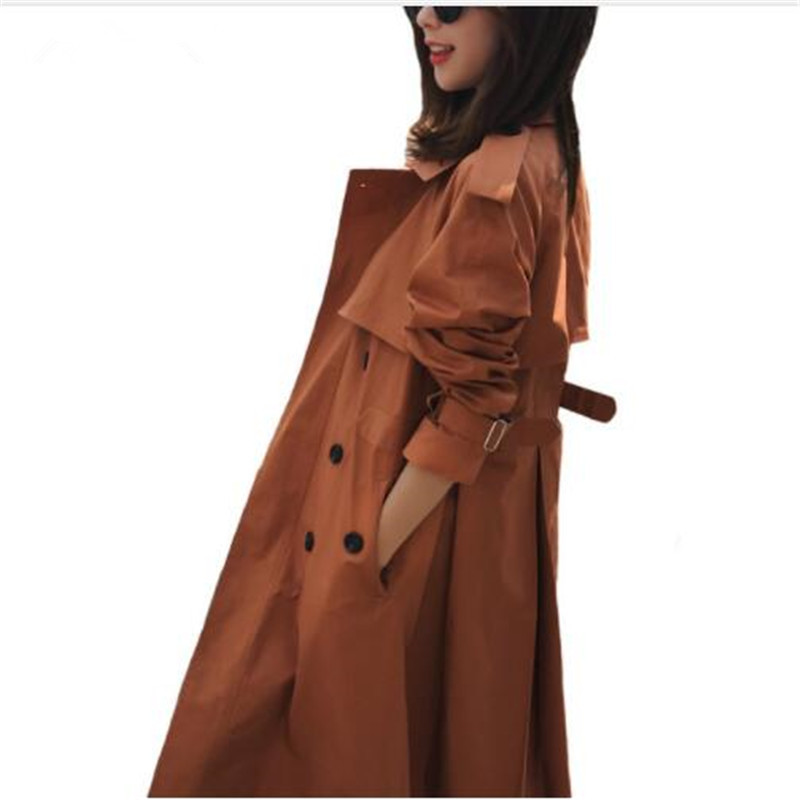 2018 Casual Women Autumn Fashion Double Breasted Mid-long   Trench   Coat Women Khaki Slim Belt Cloak Mujer Windbreaker Female