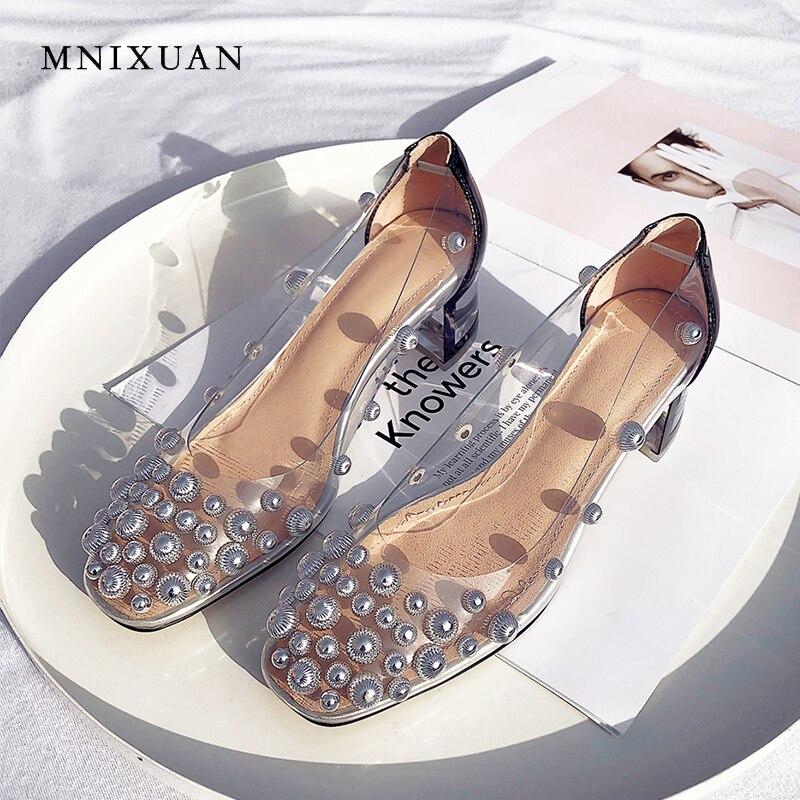 MNIXUAN Transparent talons hauts femmes chaussures pompes 2019 été nouveau PVC bout carré rivets talons moyens sans lacet chaussures décontractées noir