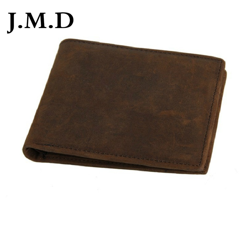 J.M.D 2019 New Arrival 100% Men's Fashion Leather Wallet Crazy Horse Leather Oil Wax Leather Purse Card Holder Wallet 804(China)