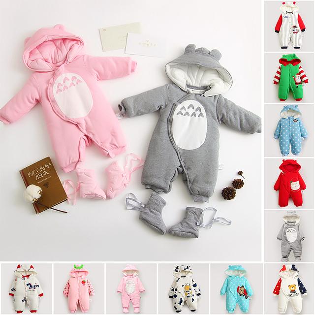 Recién nacido infantil del bebé cabritos de la ropa del bebé roupas bebes boy ropa de invierno acolchados de algodón espesar caliente baby girl mamelucos del bebé