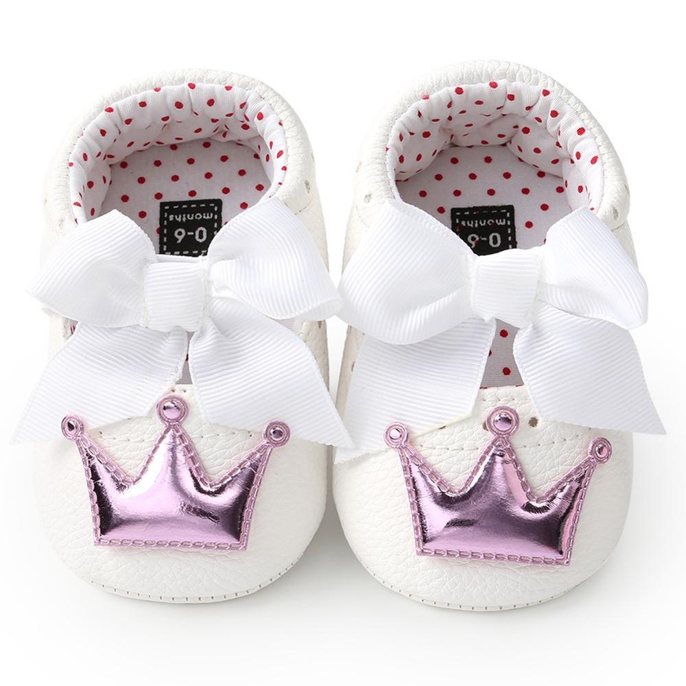 Летняя детская обувь для новорожденных девочек с мягкой подошвой, повседневные хлопковые туфли с короной для принцессы - Цвет: WZ