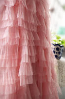 10 yards pink mesh ruffled 3D Rosette lace fabric for wedding backdrop new born baby photography blanket accessories, MF083