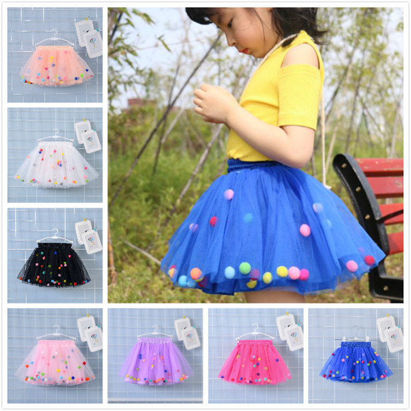 2018 Summer Baby Multilayer Tulle Tutu Skirt Colorful Pom Pom Princess Mini Dress Children Clothing Pettiskirt Girl недорго, оригинальная цена