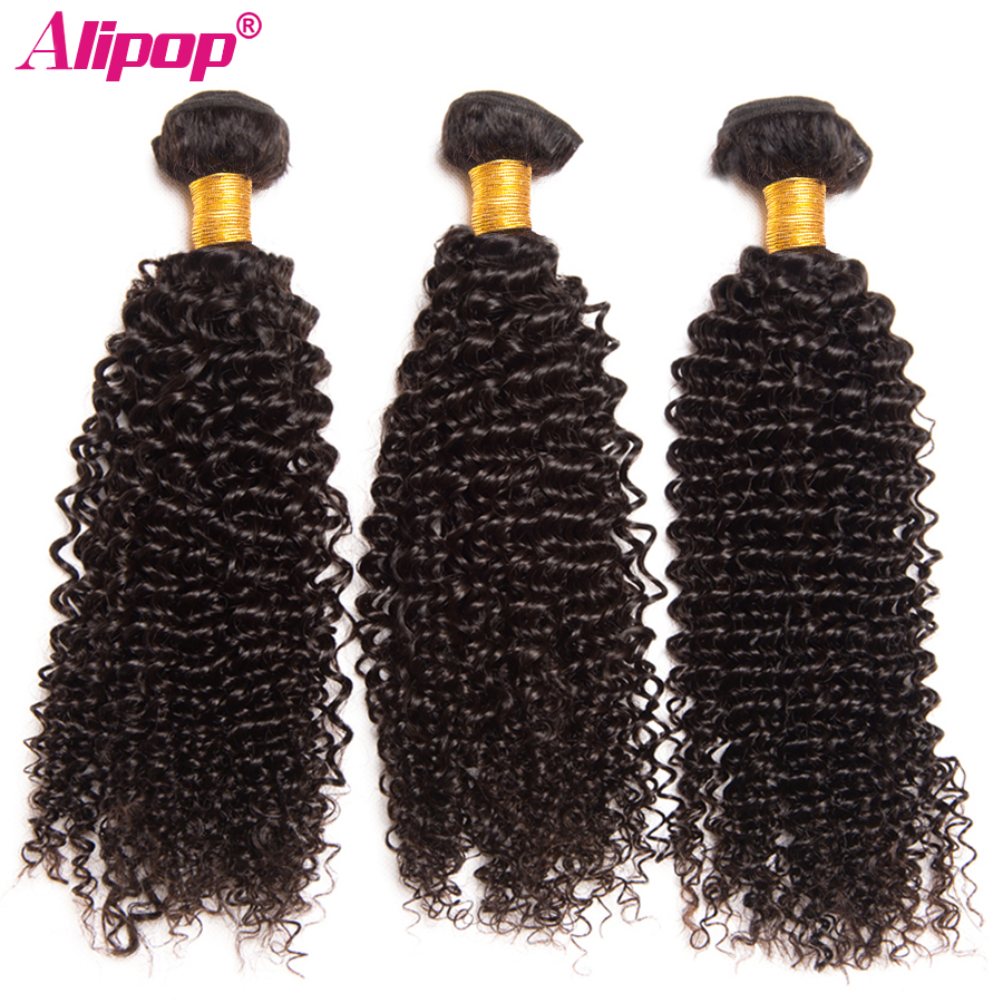 3 Bundles Afro Kinky Curly Weave Human Hair Bundles Malaysian Hair Bundles Remy Hair Extensions 10-28 ALIPOP Natural Color