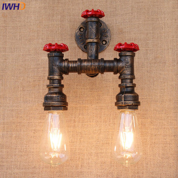 IWHD Vintage Iron Edison Wall Lamp Modern American Style Loft Light Living Room Bar Dining Room E27 Lamparas Free Shipping