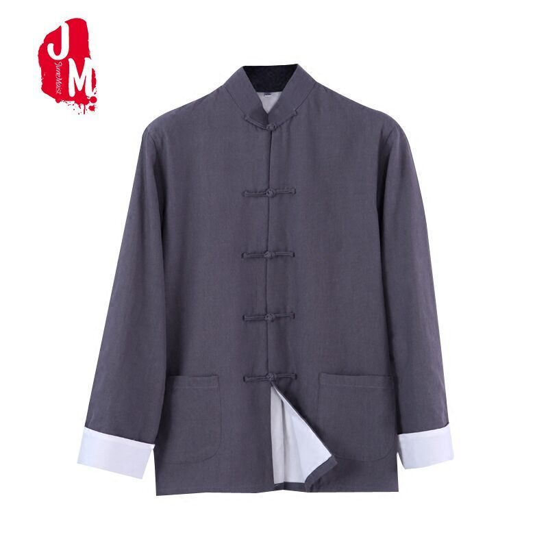 Spring Autumn Traditional Chinese Clothing Men Tops Long Sleeve Two Sided Cotton Kungfu Tang Suit Shirt Mandarin Collar XXXXL