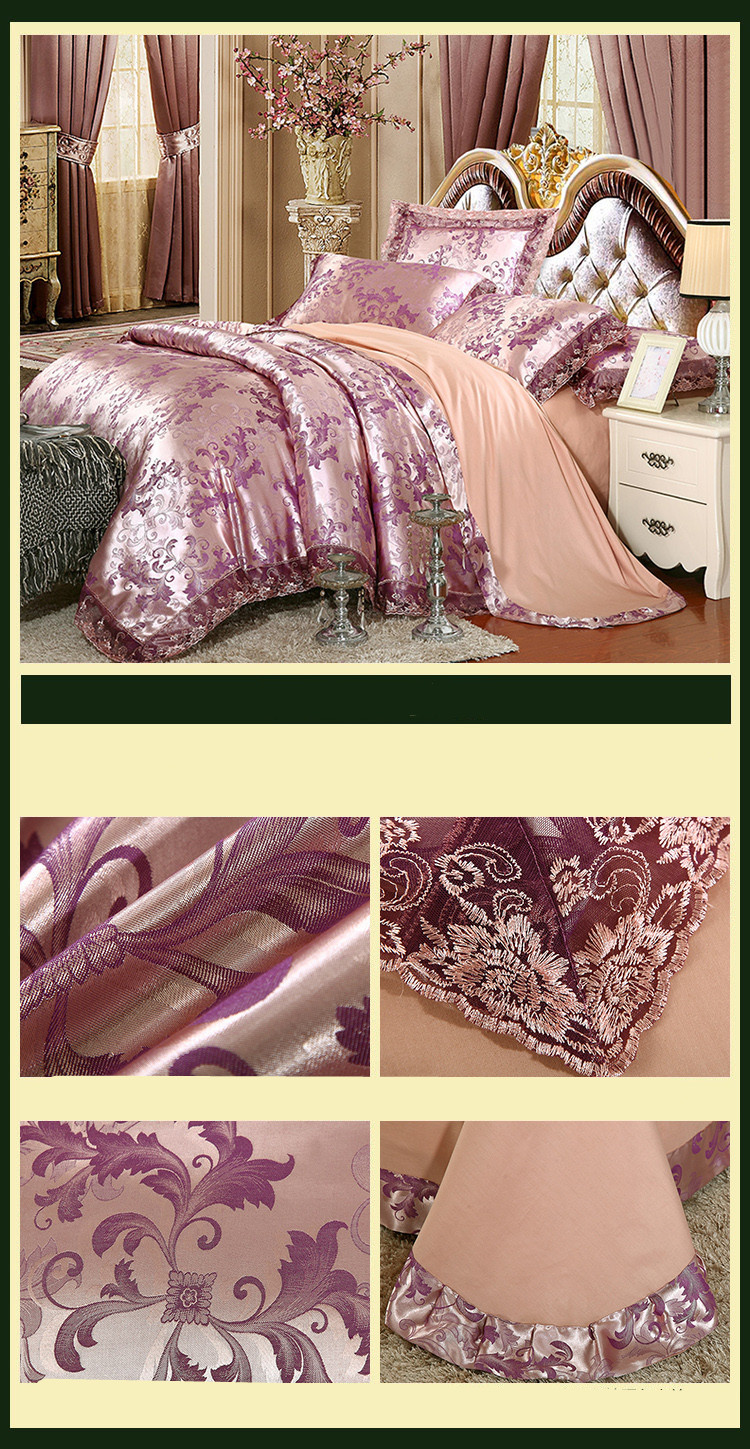 New Luxury Embroidery Tinsel Satin Silk Jacquard Bedding Set, Queen, King Size, 4pcs/6pcs 27