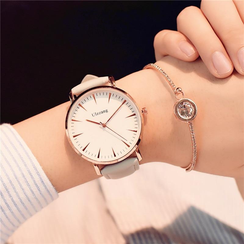 Exquis style simple femmes montres de luxe de mode quartz montres ulzzang marque femme horloge montre femme