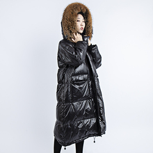 цена на Winter down jacket women parka hooded real fur collar 2019 European Brand White Duck Down thick warm coat loose long plus size