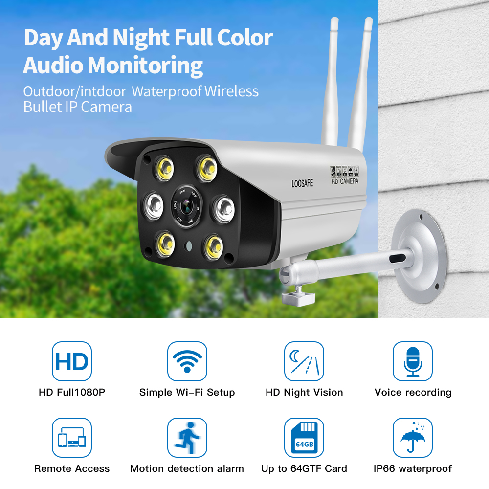 LOOSAFE Surveillance AP Hotspot Wifi Motion Cameras Outdoor Security IP Camera With Night Vision Full Color onvif Camera IP WIFI mobile phone