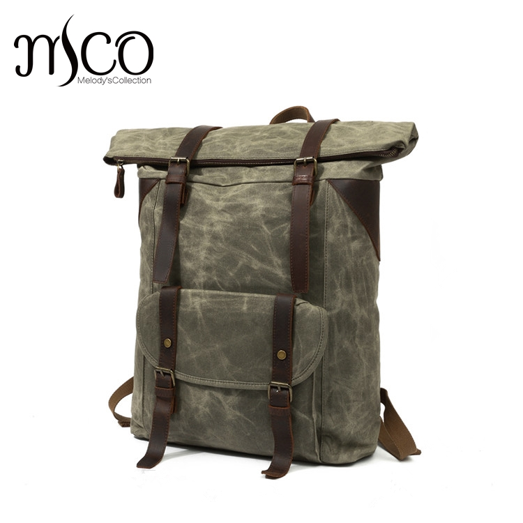Men Waxed Waterproof Canvas Backpacks Vintage Leather Laptop Backpack Mochila Large Capacity Weekend Duffle Travel Bag Rucksack jd коллекция 304 26см из нержавеющей стали дефолт