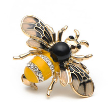 Rhinestone Enamel Bee Brooch Pins Classic Metal Insect Brooches For Women And Men Banquet Broche Gift Hat Scarf Collar Cuff