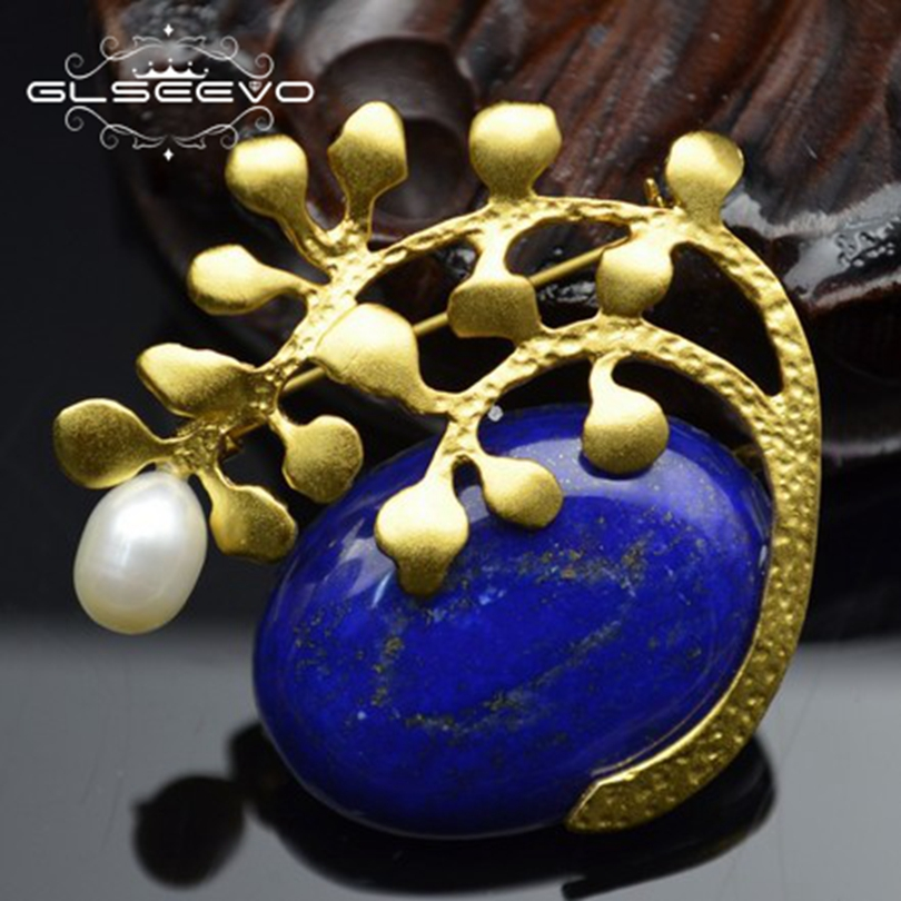 GLSEEVO Natural Stone Lapis Lazuli Leaf Brooch Pins Pearl Brooches For Women Accessories Dual Use Luxury Fine Jewellery GO0253GLSEEVO Natural Stone Lapis Lazuli Leaf Brooch Pins Pearl Brooches For Women Accessories Dual Use Luxury Fine Jewellery GO0253