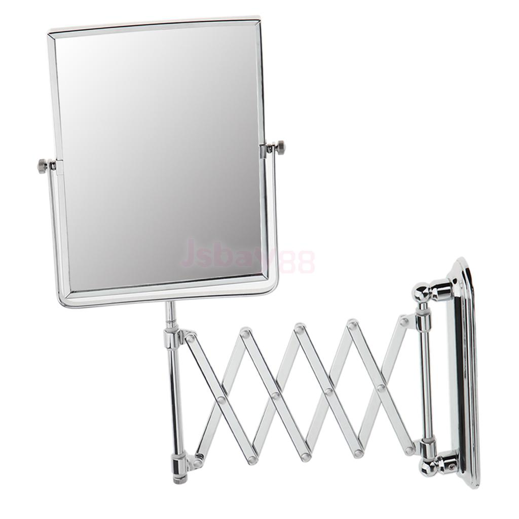 Wall Mounted Dual Sided Swivel Shaving Makeup Mirror 1x/3x Magnifying Expandable Bracket Adjustable Height Mirror nyx professional makeup двустороннее зеркало dual sided compact mirror 03