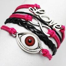 NEW Vintage LOVE Letters Red EYE infinity bracelet,Multilayer Braided leather bracelets & Bangles