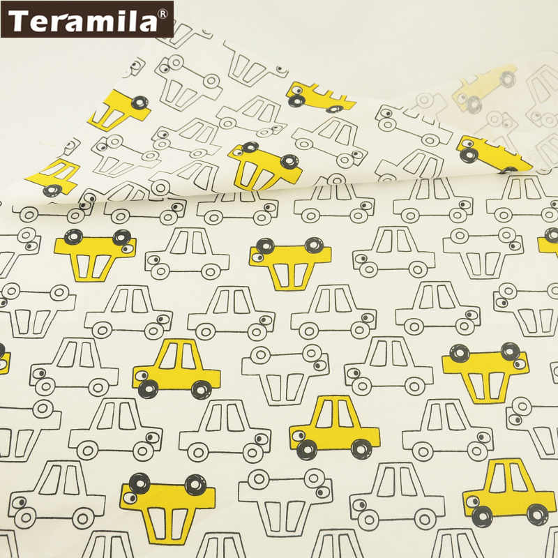Teramila Cotton Fabric Cartoon Yellow And White Cars Designs Twill Tissue Fat Quarter Home Textile Bedding Quilting Tecido