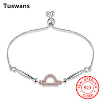 Tuswans 12 Constellations Bracelet Women Rose Gold Color Libra Symbol With Cubic Zircon Charm Braceles Hot
