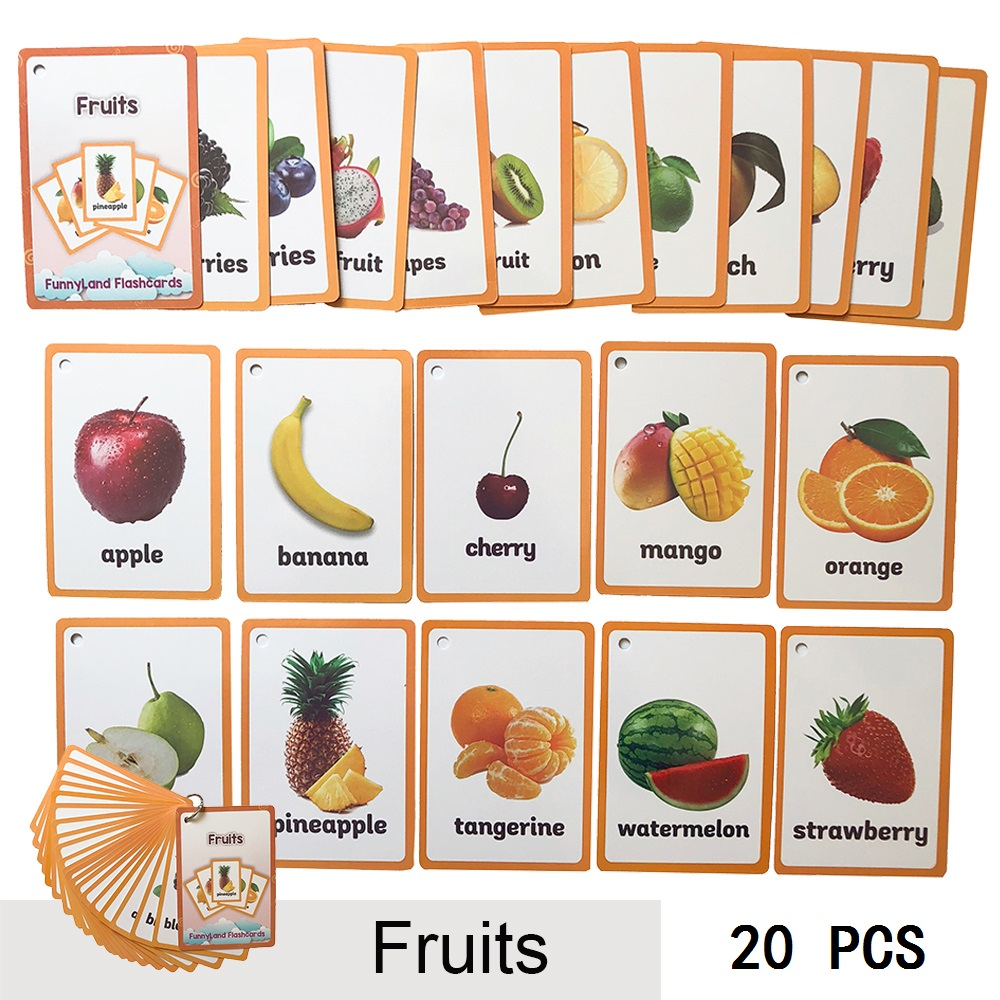 20 Pcs/Set Fruits Vegetable Kids Fun English Word Pocket Flash Card Children Learning Card Early Educational Toys