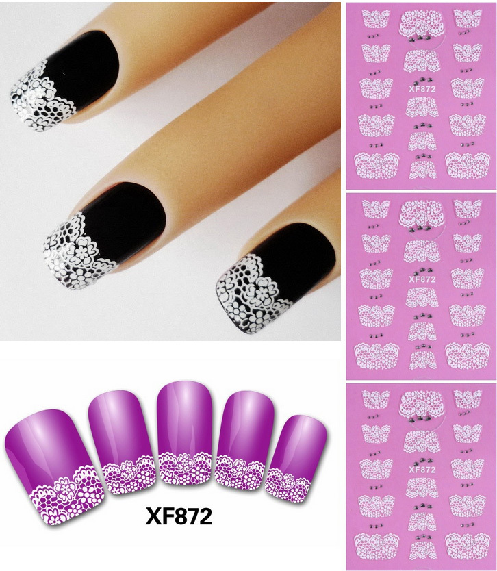 White Flower Design Lace Flower Nail Stickers Decals Self Adhesive ...