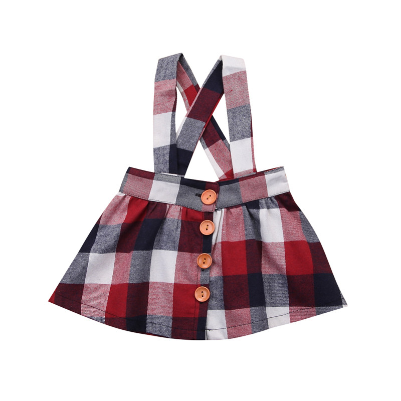 Toddler Kids Baby Girl Princess Dress Plaid Straps Cotton Clothes Outfits