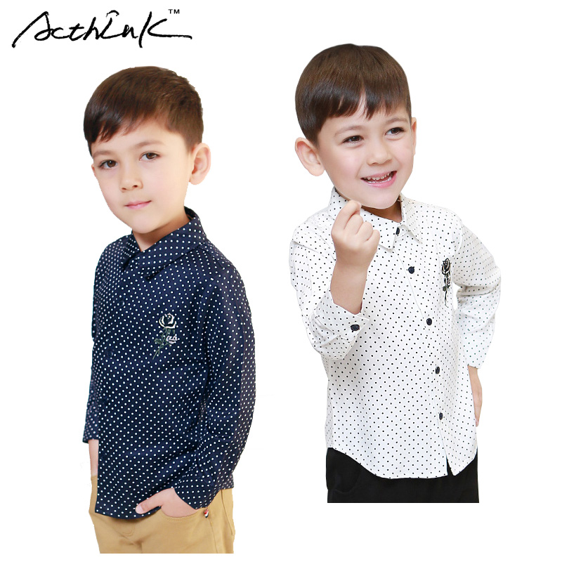 ActhInK Gentle Boys Polka Dot Kjole Shirts Big Boys Broderi Flower 95% Cotton Formal Shirts Kids Korean Casual Shirts, MC213